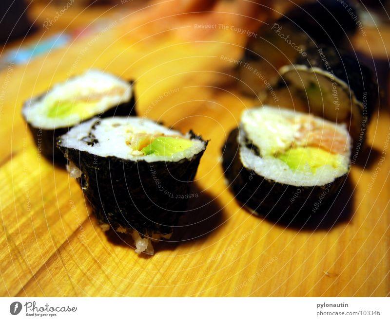 Suuuushi Ernährung Fisch Küche Gemüse Japan Mahlzeit Schneidebrett Asien Reis Algen Sushi Krabbe Lachs Garnelen Maki Wasabi