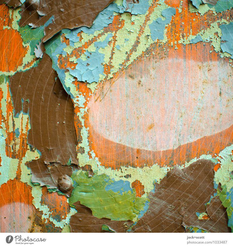 Farbpalette in Schichten alt blau grün Holz Hintergrundbild Zeit braun orange authentisch Vergänglichkeit kaputt viele Vergangenheit fest Riss Sammlung