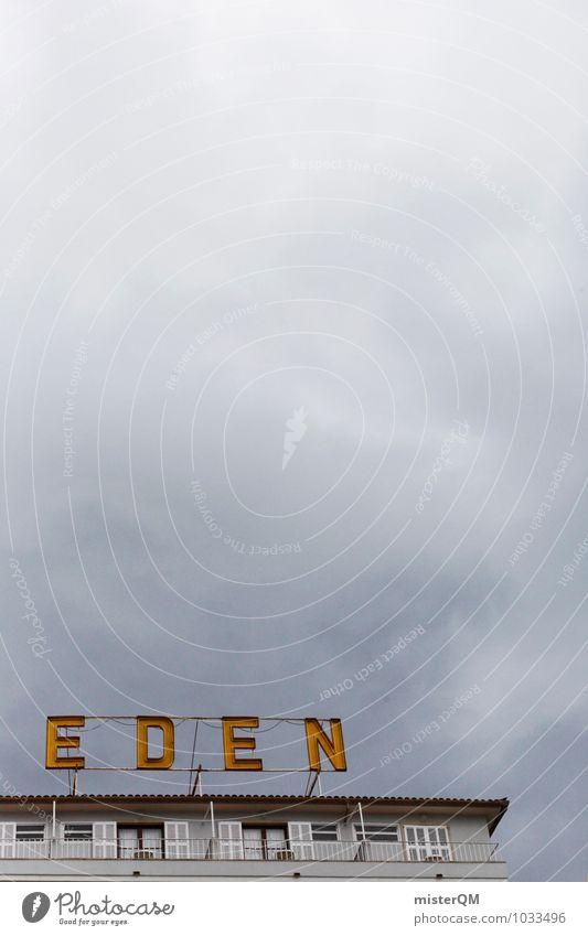 E.D.E.N. Wetter schlechtes Wetter ästhetisch Mount Eden Hotel Werbung Werbeschild Himmel (Jenseits) graue Wolken bedeckt Farbfoto Gedeckte Farben Außenaufnahme