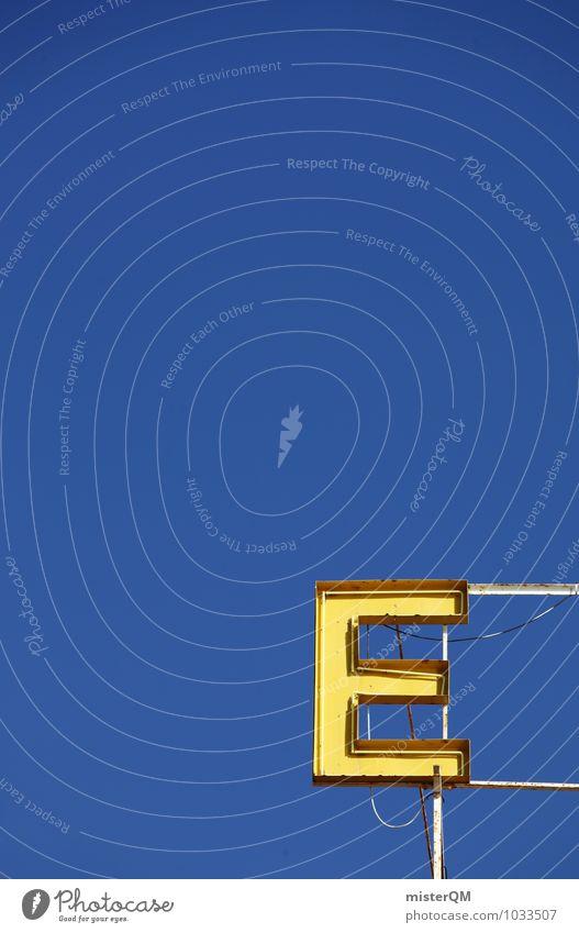 E. Kunst ästhetisch Werbebranche Werbeschild Kreativität Blauer Himmel Symmetrie Buchstaben Farbfoto mehrfarbig Außenaufnahme Detailaufnahme Experiment abstrakt