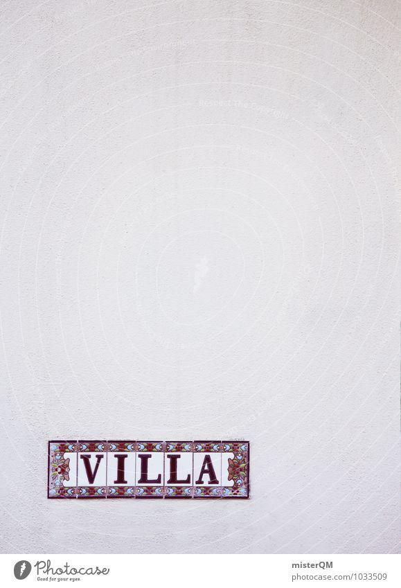 VILLA. Kunst ästhetisch Villa Schilder & Markierungen Fassade Wand Buchstaben Mauer dezent mediterran Haus Beschriftung Mallorca Urlaubsfoto Farbfoto