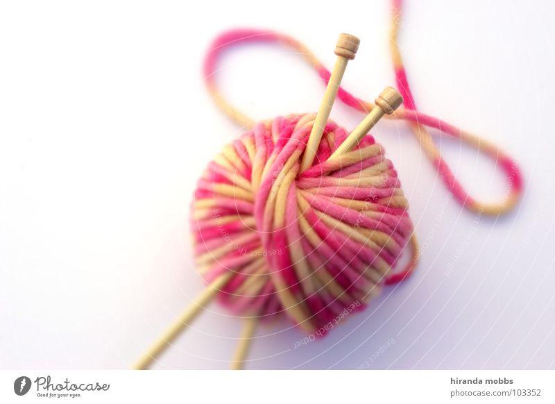 Strickzeug Wolle stricken Stricknadel Physik Handwerk Nähgarn weich aufwickeln Schurwolle gestreift gestrickt Freizeit & Hobby weiß rosa hellgelb Pullover