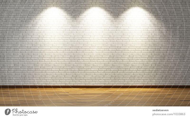 Weiße Backsteinmauer der Wiedergabe 3D Design Lampe Gebäude Architektur Stein Beton alt dreckig braun grau weiß Weißer Raum Parkett weiße Ziegelwand Konsistenz