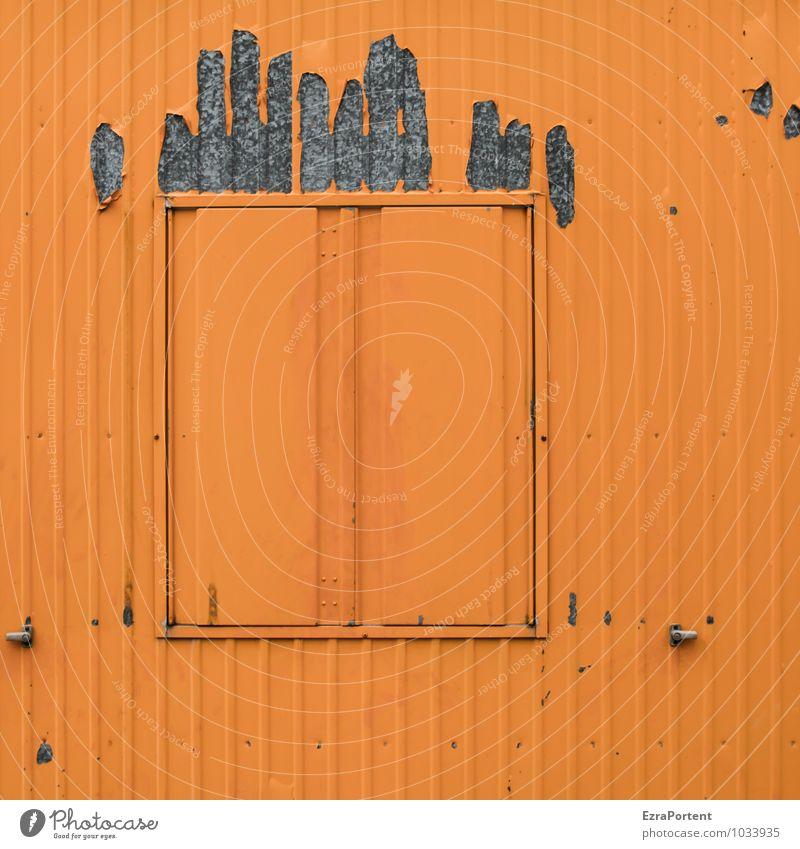 bad hair day Gebäude Mauer Wand Fassade Fenster Haare & Frisuren Metall Linie grau orange Farbe geschlossen Container Design graphisch Grafik u. Illustration