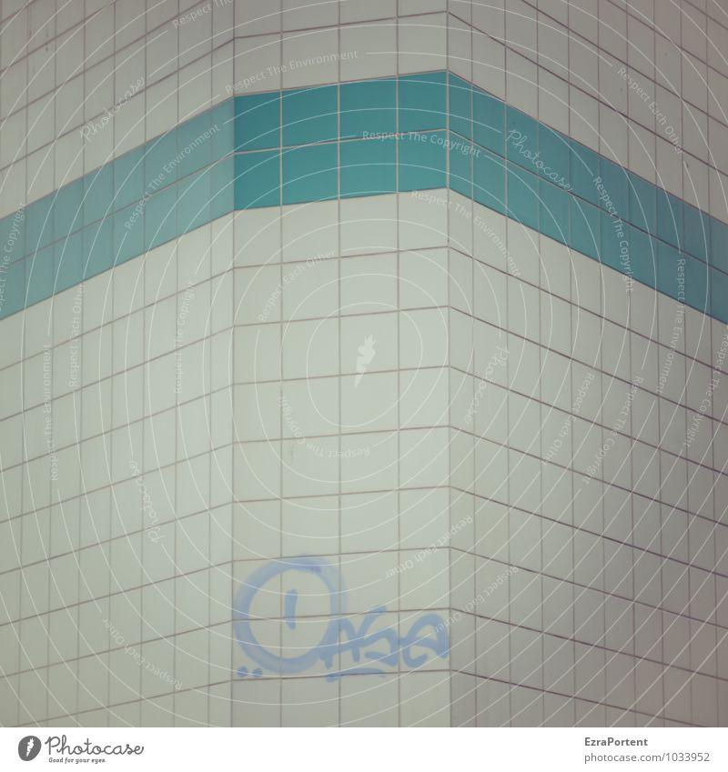 Vegetationsfleck Stadt Haus Bauwerk Gebäude Mauer Wand Fassade Zeichen Schriftzeichen Graffiti Linie kalt blau weiß Oase Fliesen u. Kacheln Streifen Design Ecke