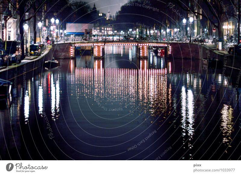 januar in amsterdam Ferien & Urlaub & Reisen Wasser ruhig Winter schwarz Feste & Feiern Wasserfahrzeug Tourismus ästhetisch Ausflug Brücke Kultur Fluss