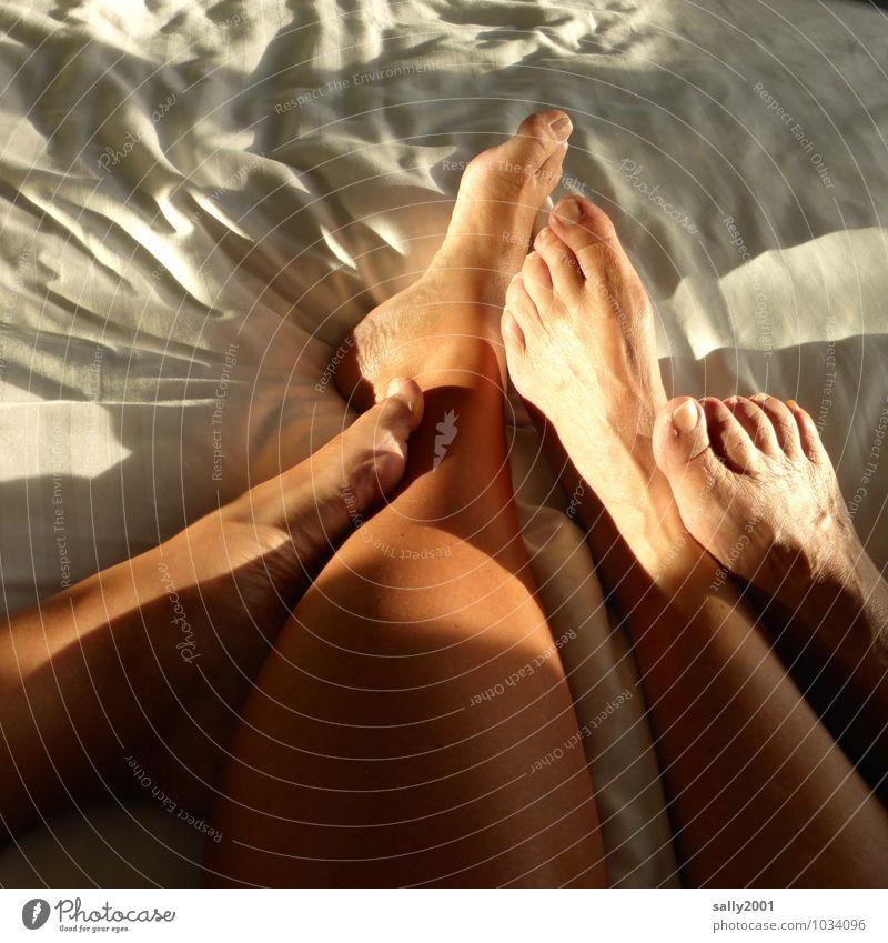 Füße hochlegen... Mensch nackt Erholung ruhig Erotik Liebe feminin Beine Fuß Paar Zusammensein liegen Wohnung Häusliches Leben ästhetisch genießen