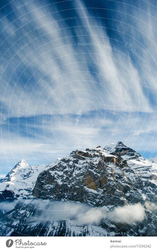 Spitzen Ferien & Urlaub & Reisen Schweiz Umwelt Natur Landschaft Urelemente Himmel Wolken Sonne Sonnenlicht Winter Schönes Wetter Eis Frost Schnee Felsen Alpen