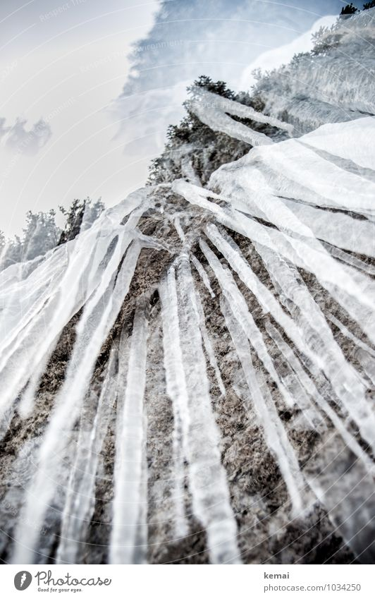 Winterkunst Himmel Natur Wasser Winter kalt Berge u. Gebirge außergewöhnlich Felsen Eis Wachstum groß Spitze Frost Alpen gefroren hängen