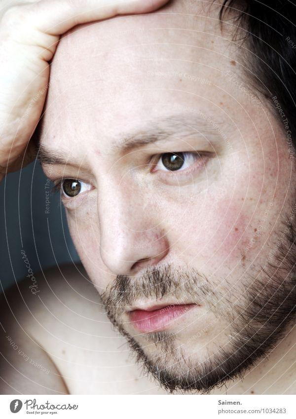 trauer Mensch maskulin Mann Erwachsene Kopf Auge 1 30-45 Jahre Gefühle Stress Hoffnung Leben Schmerz Trauer Traurigkeit Denken nachdenklich Tagtraum Porträt