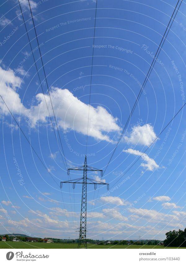 wolkenscheider Wolken Elektrizität Energiewirtschaft Himmel blau hoch Hochspannungsleitung Strommast Zentralperspektive Schönes Wetter Landschaft