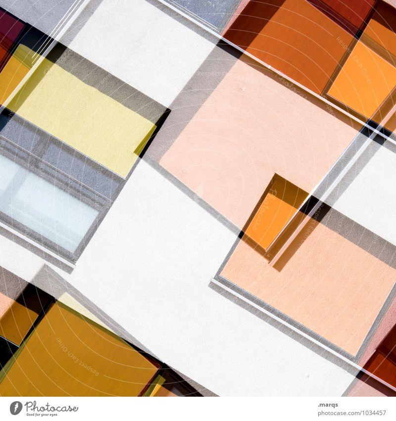 c Lifestyle elegant Stil Design Architektur Fassade Fenster Linie außergewöhnlich Coolness eckig trendy modern gelb orange rot weiß Farbe Perspektive