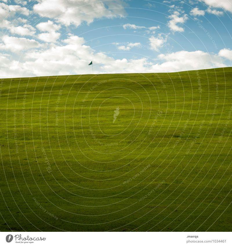 Loch 18 Himmel Natur schön Landschaft Wolken Wiese Sport Lifestyle Freizeit & Hobby Schönes Wetter Sauberkeit Ziel Fahne Reichtum Golf Sportstätten