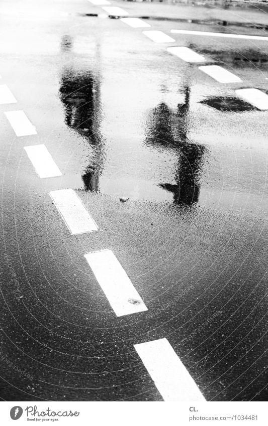 wenn es regnet, dann ist die straße nass Umwelt Wasser Herbst Winter Klima Wetter schlechtes Wetter Unwetter Regen Menschenleer Verkehr Verkehrswege