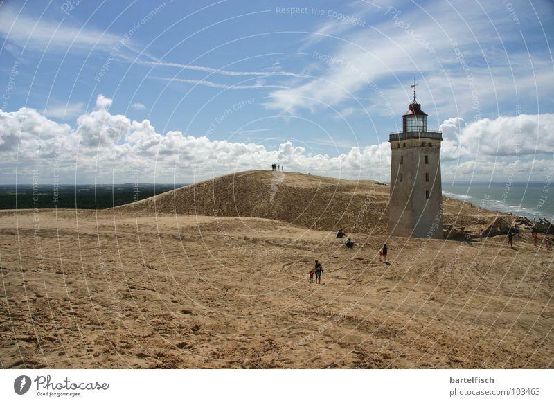 Sandfeuer I Leuchtturm Klippe Sturm Schifffahrt Sandsturm Meer Wellen Wanderdüne Rubjerg Knude Ruine verfallen Haus Unbewohnt früher Europa historisch Dänemark