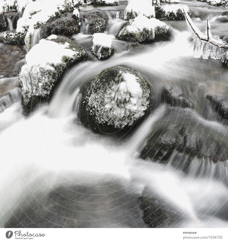 White water in Black Forest Natur Ferien & Urlaub & Reisen Wasser Landschaft Winter Wald kalt Umwelt Schnee Felsen Luft Eis Wetter Tourismus Klima weich