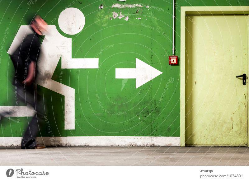 Run for your Life Mensch grün Bewegung außergewöhnlich maskulin Tür einzeln Geschwindigkeit Zeichen Ziel Eile Pfeil rennen Rettung Panik Piktogramm