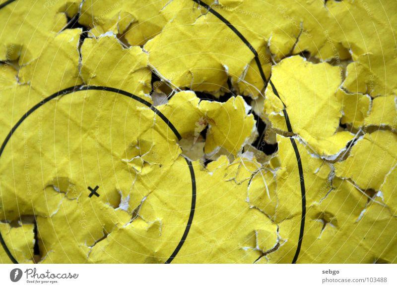 Zielen, stillhalten, Feuer! gelb Spielen Freizeit & Hobby Papier Kreis Loch Zielscheibe Schuss schießen Bogensport