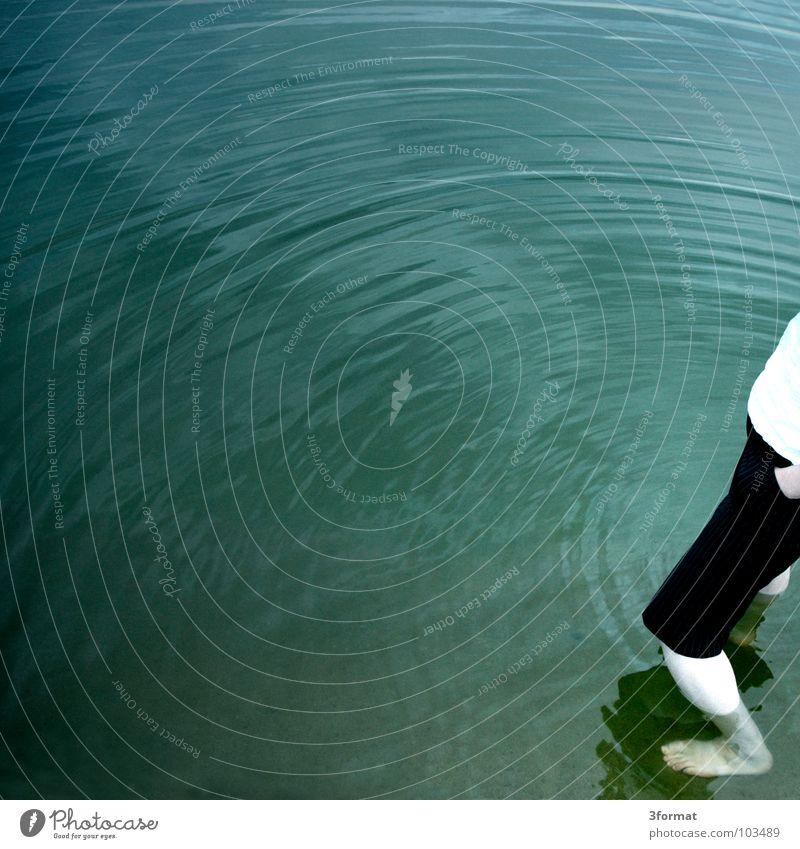 Ring Oberfläche Wasseroberfläche See Meer Strand Wellen türkis grau Vogelperspektive ruhig flach Reflexion & Spiegelung Badestelle Sommer