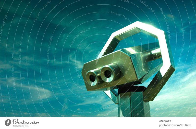 münzeinwurf_01 Teleskop Fernglas Brennweite vergrößert Stahl Chrom glänzend Reflexion & Spiegelung blenden alt Ferne untersuchen Sehnsucht Fernweh Aussicht