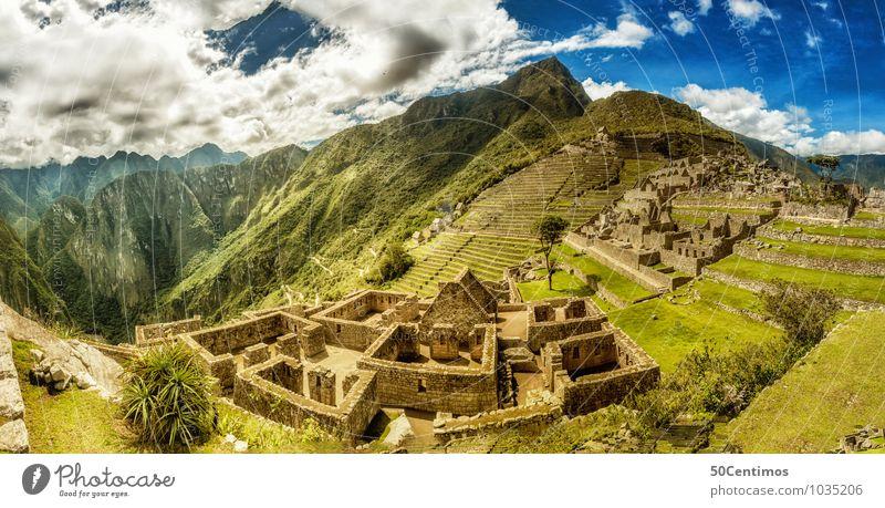 A 180° Panorama of Machu Picchu Ferien & Urlaub & Reisen Pflanze Sommer Landschaft Ferne Berge u. Gebirge Umwelt Wiese Garten Freiheit Tourismus wandern groß