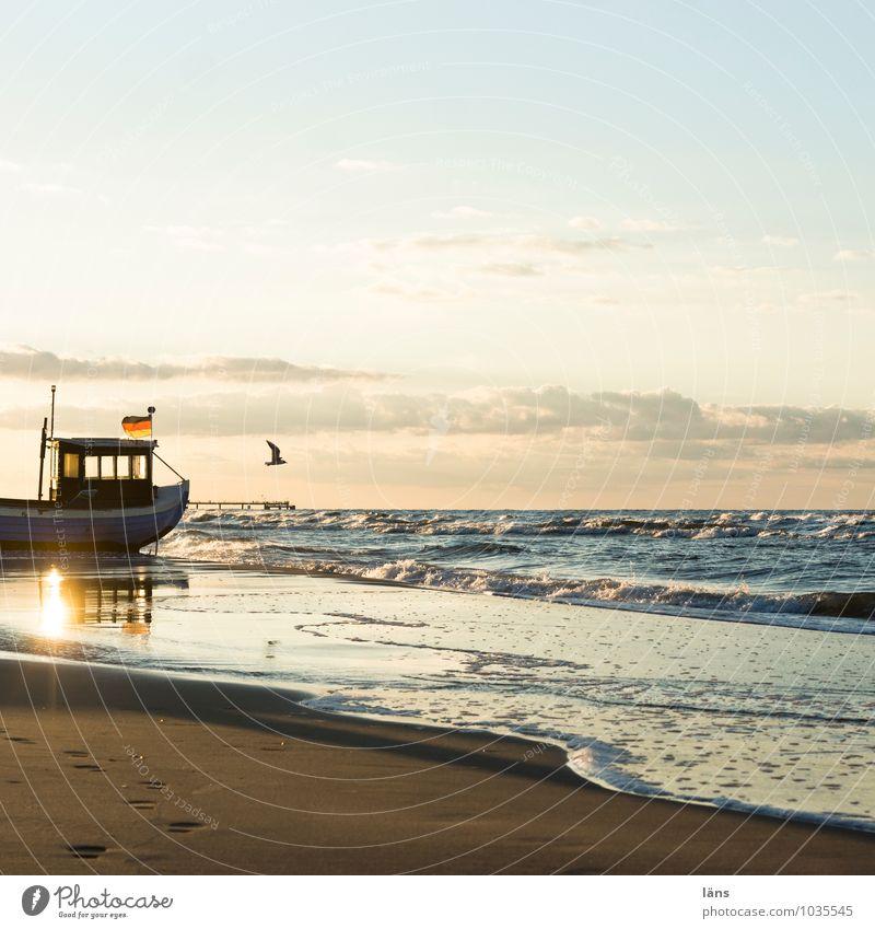 sehn_sucht Himmel Natur Ferien & Urlaub & Reisen Sommer Sonne Erholung Meer Landschaft Strand Umwelt Küste Wege & Pfade fliegen Sand Wasserfahrzeug