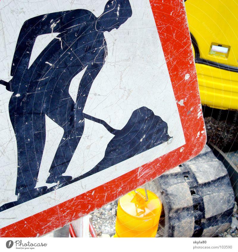 Arbeitsweise Mann Lampe Arbeit & Erwerbstätigkeit Schilder & Markierungen Hinweisschild Arbeiter Baustelle Warnhinweis Bauarbeiter Bagger Verkehrsschild