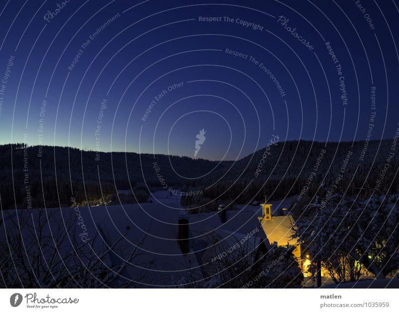 Weihnachtsbotschaft Landschaft Himmel Wolkenloser Himmel Stern Horizont Winter Schönes Wetter Eis Frost Schnee Baum Garten Berge u. Gebirge Dorf Menschenleer