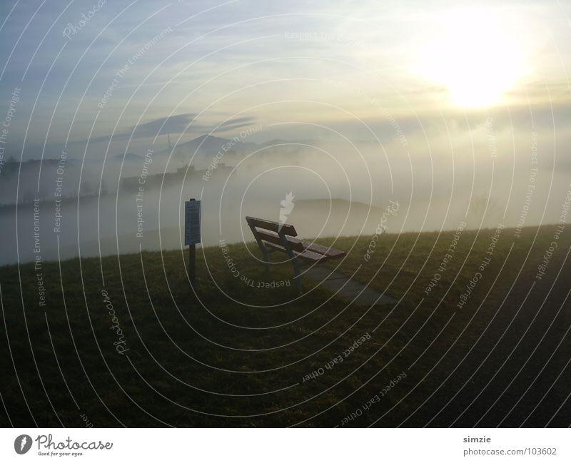 nebelbank Sonne ruhig Ferne Herbst Berge u. Gebirge Nebel Perspektive Bank Aussicht Hügel unklar Durchbruch