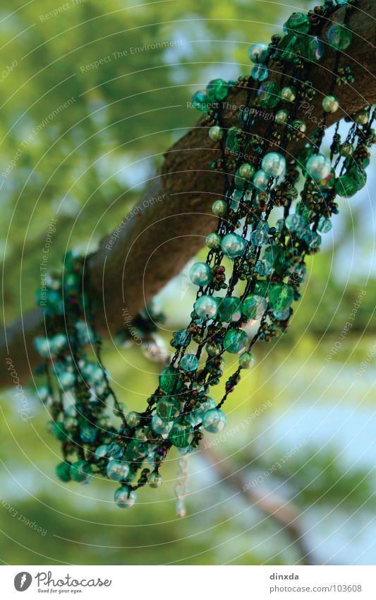es grünt so grün Natur Baum grün Spielen Kunst Ast Perle Kette Kunsthandwerk Kollier