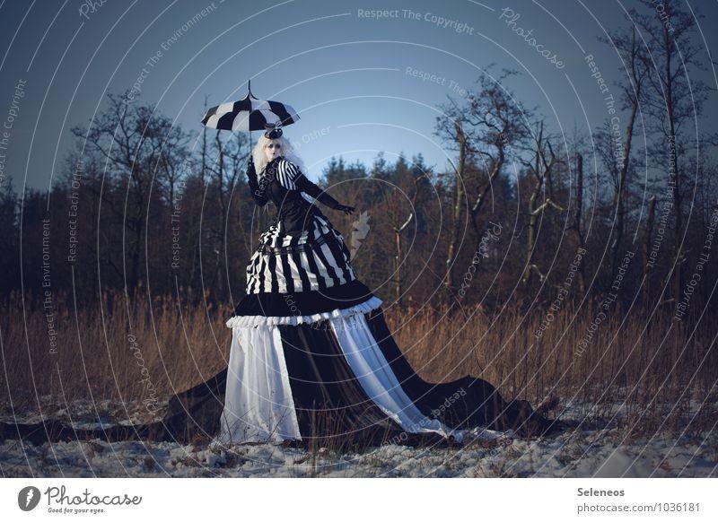 burtonesque Mensch Frau Natur Winter Wald Umwelt Erwachsene Schnee feminin Mode Feld groß Bekleidung fantastisch Streifen Kleid