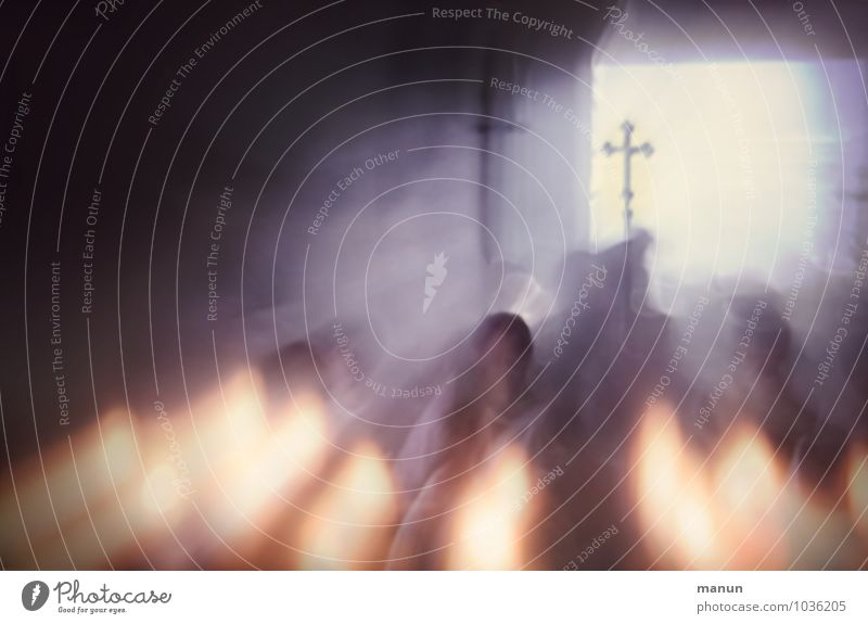 Kreuzzug Feste & Feiern Christentum Christliches Kreuz Mensch Leben Menschengruppe Menschenmenge Gebäude Kirche Kirchenraum Kerzenschein Zeichen dunkel