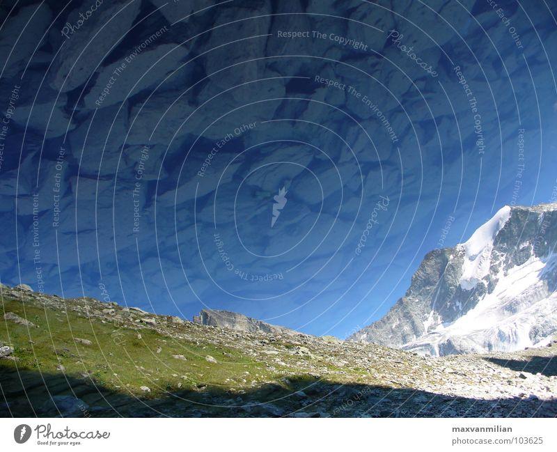 Spiegelposer (Uno) Wasser grün blau Schnee Berge u. Gebirge Stein See Gletscher