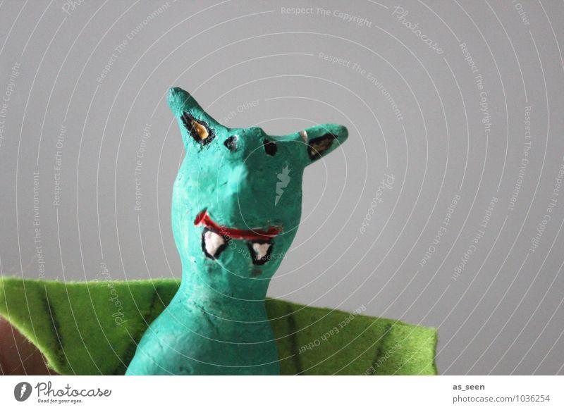 Zähne zeigen grün Farbe Tier lustig Spielen Kunst Schule Freizeit & Hobby authentisch Kindheit Fröhlichkeit Kreativität Lebensfreude einzigartig Kindergarten