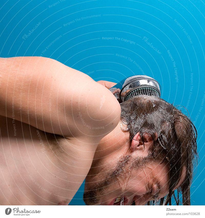 shower II Mensch Mann Hand Wasser blau Gesicht kalt Haare & Frisuren Kopf Wärme Körper Haut Arme maskulin nass frisch