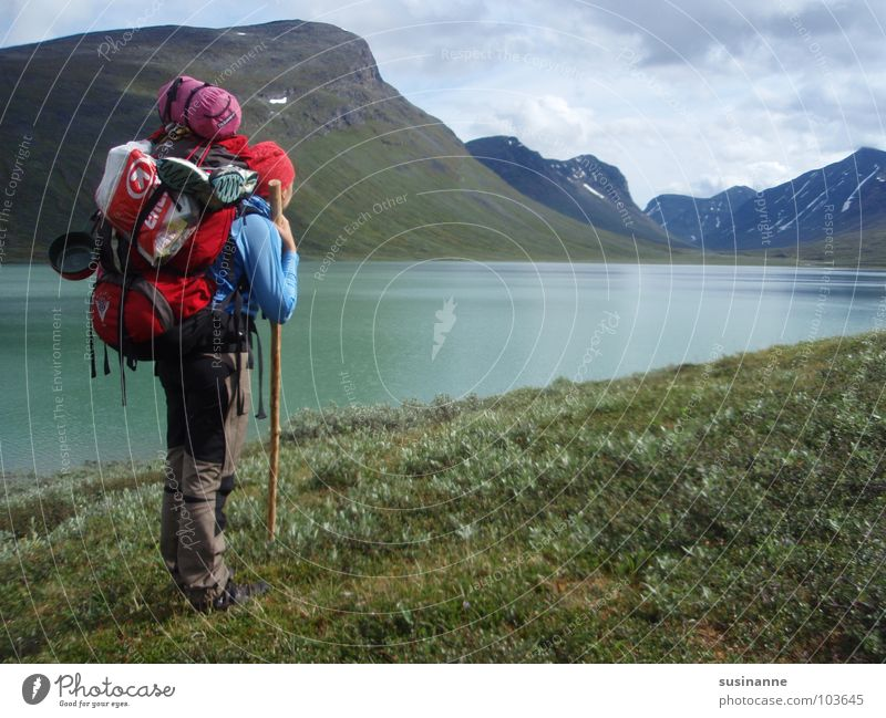 Langersehnte Aussicht Frau Natur Berge u. Gebirge wandern Schweden Rucksack Wildnis Gebirgssee Nordeuropa
