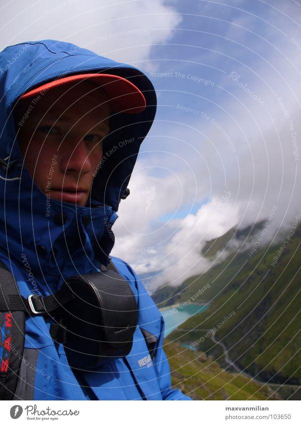 Gedanken : halbtransparent blau Gesicht Wolken Berge u. Gebirge träumen See