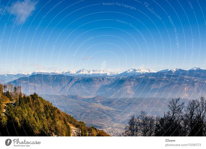 Von der Mendel Ferien & Urlaub & Reisen Ausflug Ferne Berge u. Gebirge Umwelt Natur Landschaft Wolkenloser Himmel Herbst Winter Schönes Wetter Alpen Gipfel