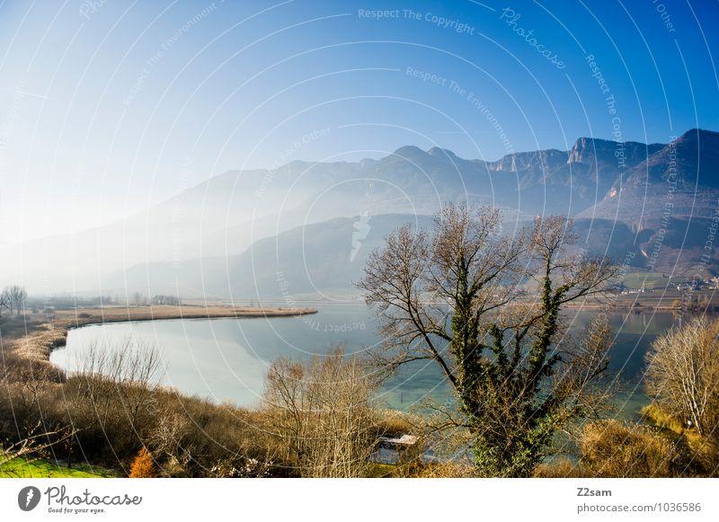 Kalterer See Himmel Natur Ferien & Urlaub & Reisen Sonne Baum Erholung Landschaft Winter kalt Berge u. Gebirge Umwelt natürlich Nebel frisch Idylle