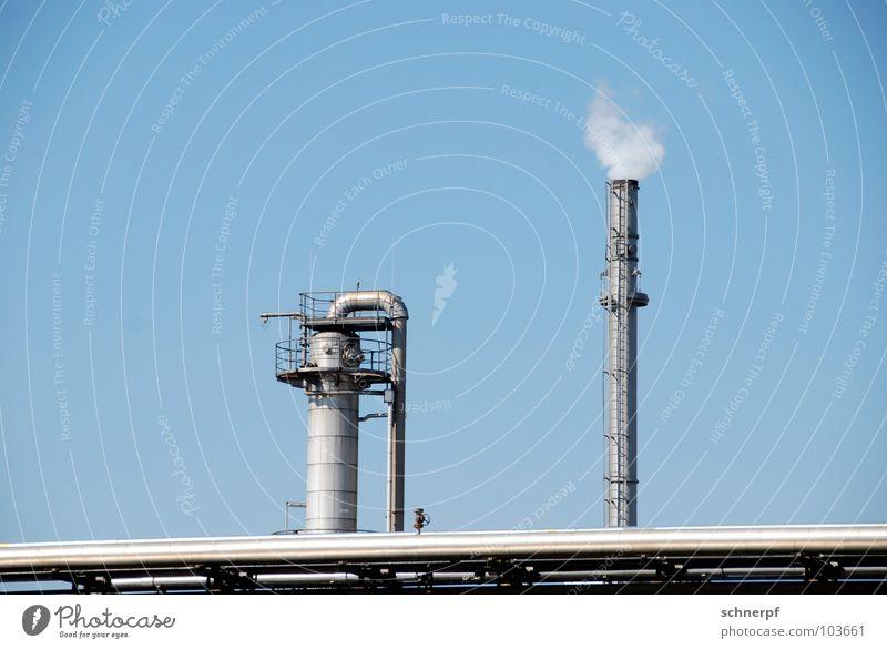 Nachbarn blau schön Gebäude Metall mehrere ästhetisch Technik & Technologie hoch Industrie Schönes Wetter Sauberkeit Niveau Industriefotografie Geländer Fabrik Wolkenloser Himmel