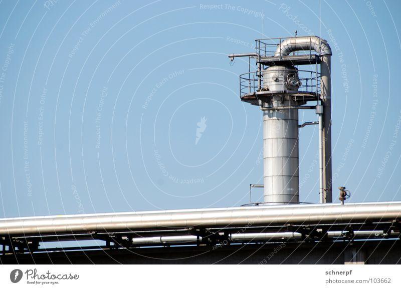 So viel Blech... blau schön Gebäude Metall Fassade hoch mehrere ästhetisch Industrie Schönes Wetter Technik & Technologie Sauberkeit Niveau stoppen 4 Geländer