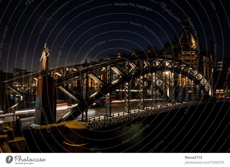 Brooksbrücke II Stadt Hafenstadt Stadtzentrum Brücke Bauwerk Gebäude Architektur Sehenswürdigkeit dunkel kalt Hamburg Elbe Stahlbrücke Schneefall Winter
