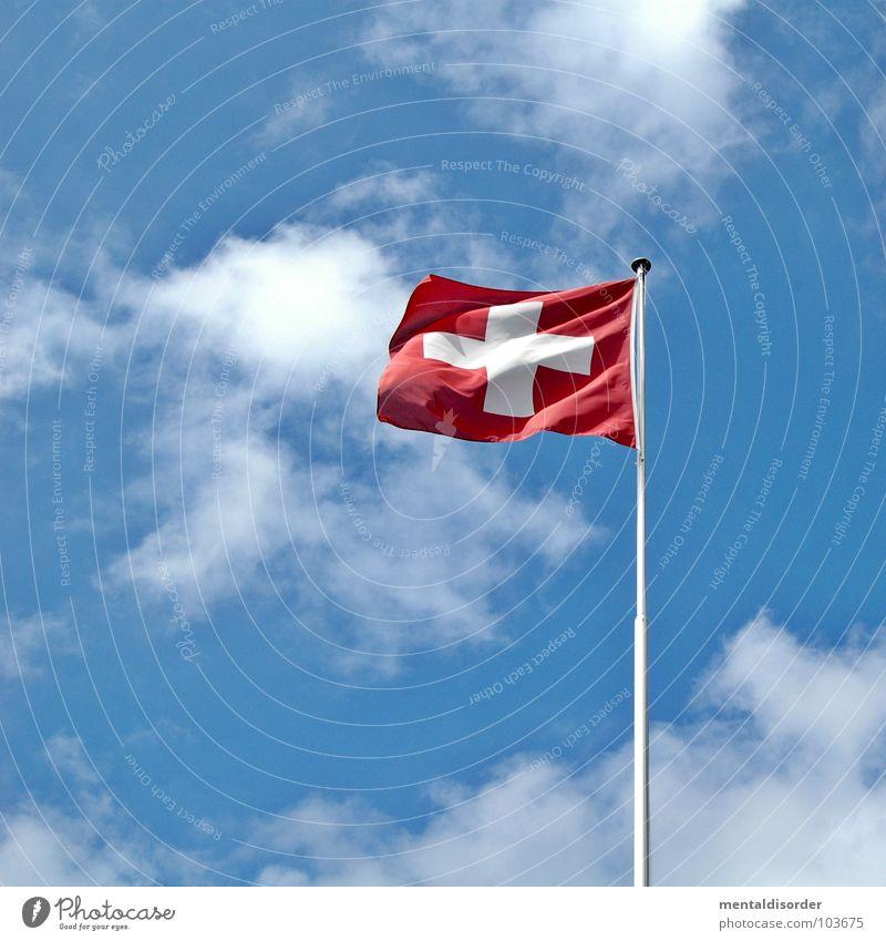ch Himmel weiß blau rot Ferien & Urlaub & Reisen Berge u. Gebirge Deutschland wandern Wind Schilder & Markierungen frei Rücken Fahne Aussicht Schweiz Italien