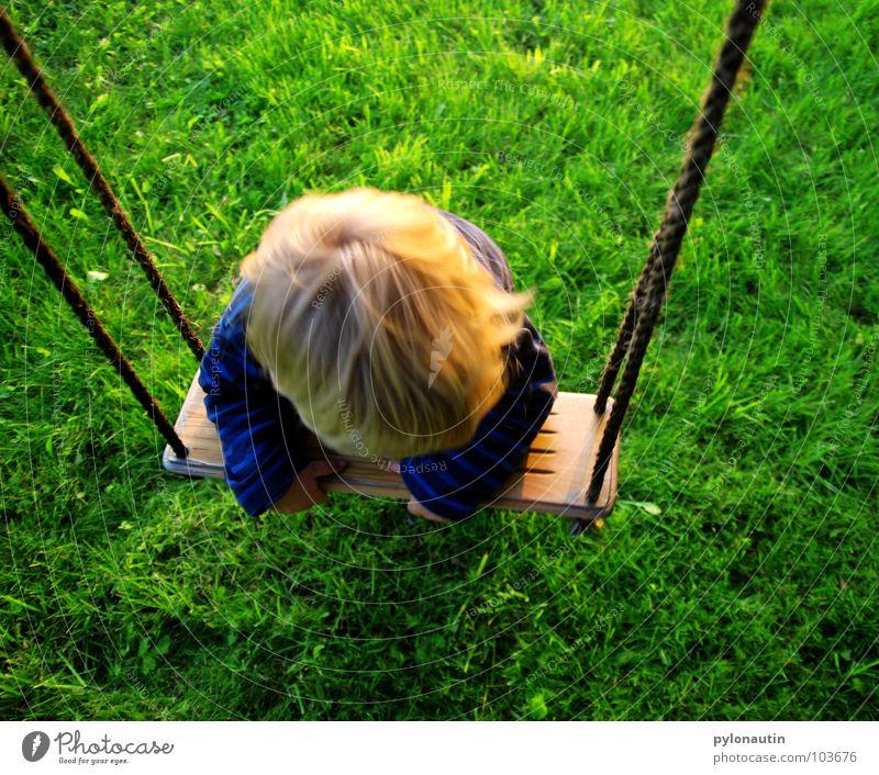Verschaukelt Kind blond Pullover Schaukel Holzbrett Spielplatz Freizeit & Hobby Spielen Baum Wiese grün Sommer hängen Turnen Hand Kleinkind blau Seil Sisal