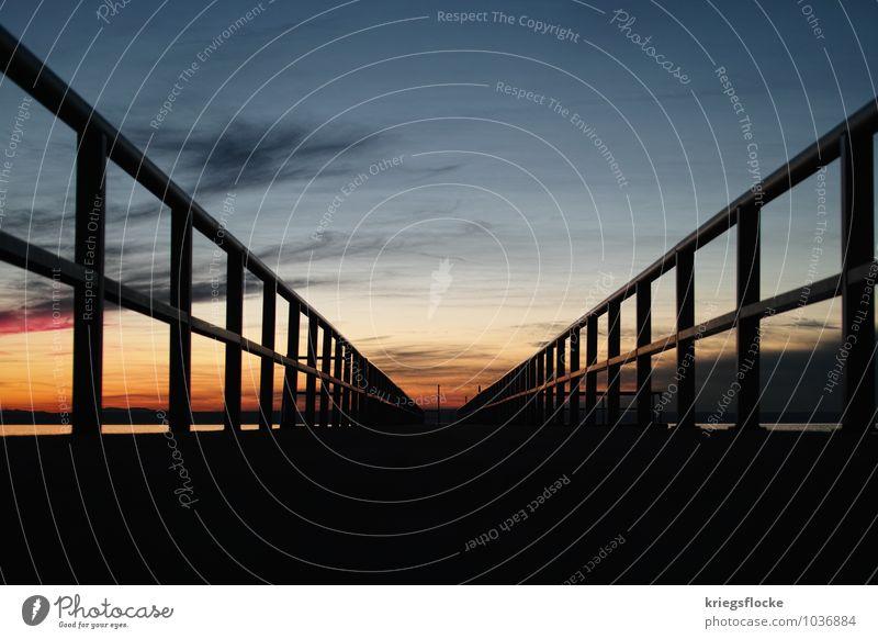 Zum Ende... Wasser Himmel Horizont See Brücke Stimmung Kraft Einsamkeit Mittelpunkt Perspektive Ferne Ziel Bodensee Steg Geländer vorwärts Farbfoto