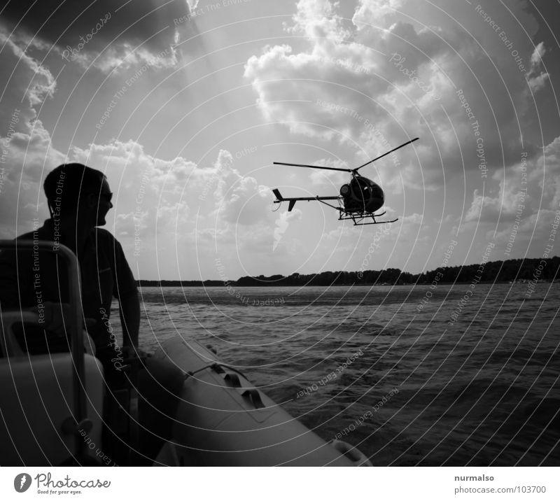 zu Wasser zu Lande zu Luft Wasser Luft Wasserfahrzeug Stimmung Flugzeug Wind Luftverkehr Technik & Technologie Flughafen Hubschrauber Schlauchboot