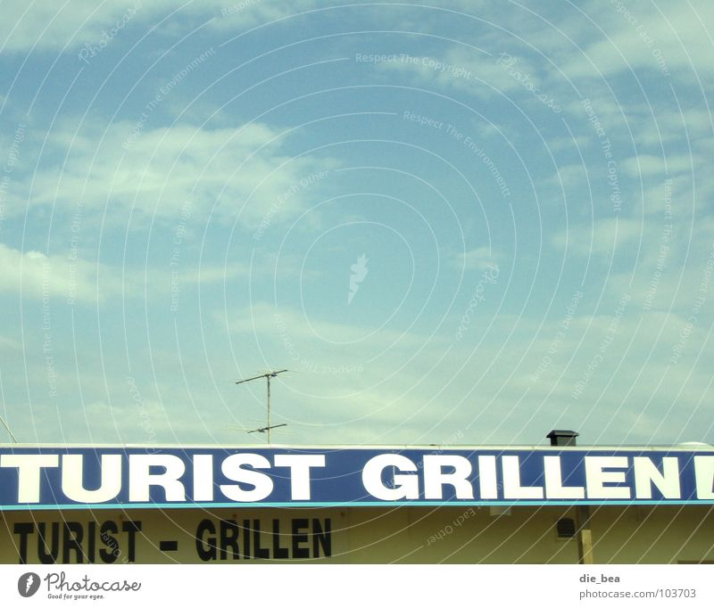 kleiner Snack Imbiss Sonnenbad Grillen Pause lecker unappetitlich Ekel Antenne Tourist Hotdog Himmel Begrüßung