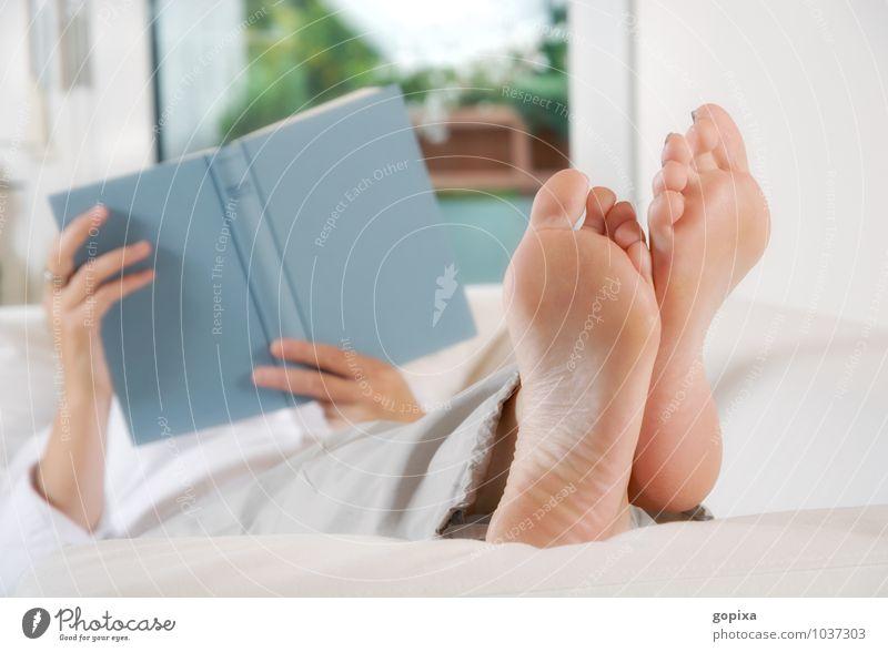 Füße hochlegen Frau weiß Erholung Hand ruhig Erwachsene natürlich Stimmung Fuß Häusliches Leben Zufriedenheit Buch lesen festhalten Bildung Gelassenheit