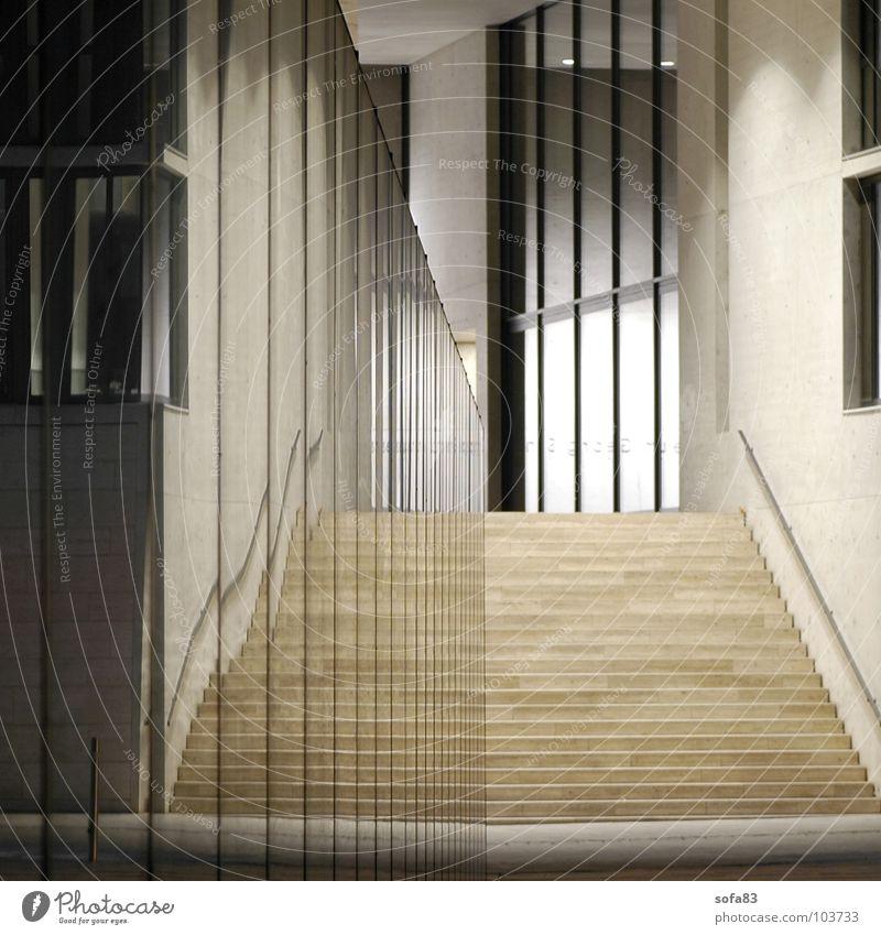 treppe weiß Haus kalt Fenster Stein Treppe modern Spiegel