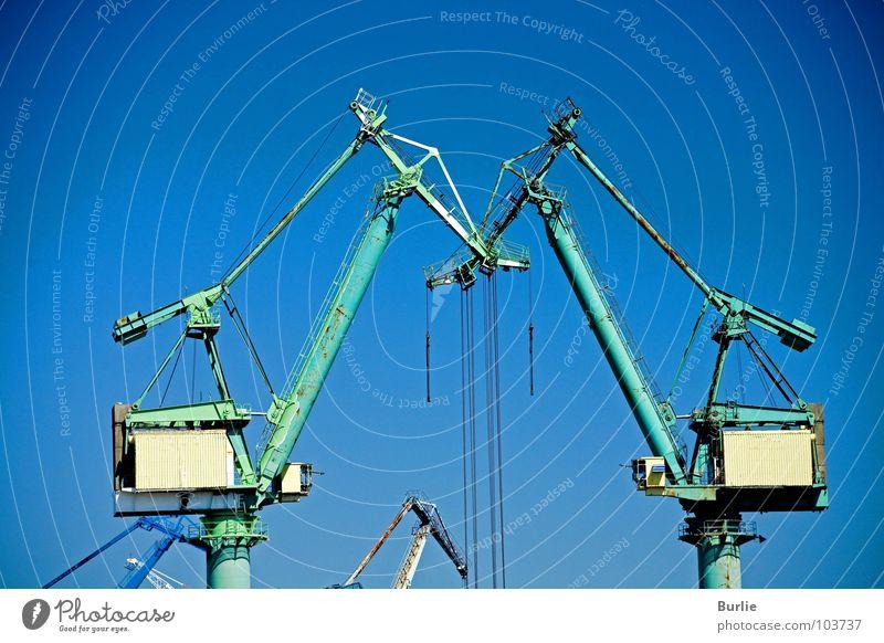Verliebte Kräne Kran grün Interaktion groß Industrie Himmel blau Technik & Technologie Liebe Ausläufer hoch